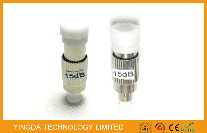 Test Equipment Male To Female FC / PC Fiber Optic Attenuator 15dB 1310nm 1550nm